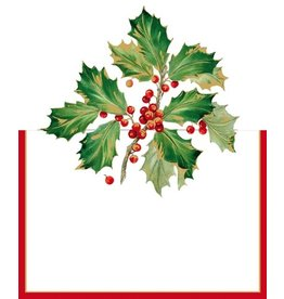 Caspari Christmas Place Cards Tent Style 8pk Gilded Holly 86932P Caspari