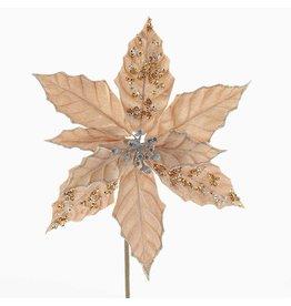 Kurt Adler Poinsettia Pick 13 inch Rose Gold-Champagne
