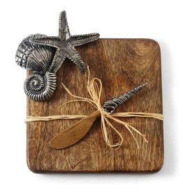 Mud Pie Starfish Cutting Board Set w Spreader 4751042 Mud Pie Gifts