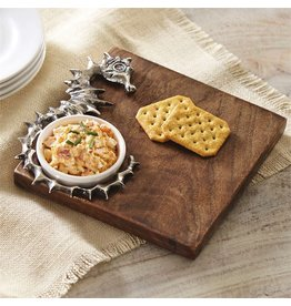 Mud Pie Wood Cutting Board w Dip Cup n Seahorse Icon 4751070 Mud Pie Gifts