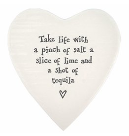 East of India Porcelain Heart Plate Coaster Keepsake E098 Take Life with a Pinch of Salt