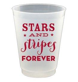 Slant Plastic Flex Cups 16oz 8pk F132169 Stars and Stripes Forever
