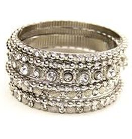 Jacqueline Kent Jewelry Silver w Clear Crystal Bangle Bracelet Set by Jacqueline Kent Jewelry