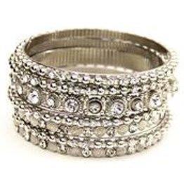 Jacqueline Kent Jewelry Silver w Clear Crystal Bangle Bracelet Set