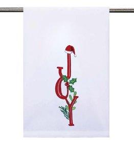 Peking Handicraft Christmas Hand Towel w Joy Embroidered 16x25 inch by Peking