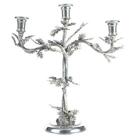 Vagabond House Pewter Acorn Oak Leaf Candlestick Holder Candelabra