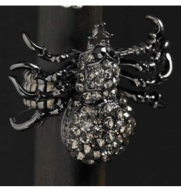K&K Interiors Halloween Rings-Costume Jewelry- Black Crystal Spider Stretch Ring