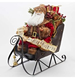 Kurt Adler Santa w List in Sleigh Christmas Table Piece 18 inch D1919