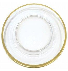 Caspari Acrylic Charger Dinner Plate HDP600 Clear w Gold Rim