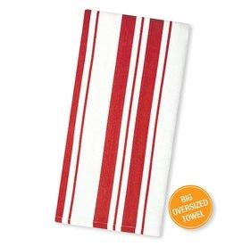 MUkitchen Cotton Stripe Basket Weave Dish Towels 1Pk 6617-1516 Punch