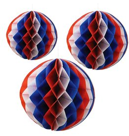 Bethany Lowe Designs Patriotic Red White Blue Honeycomb Balls Set of 3
