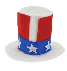 DM Merchandising Patriotic USA Uncle Sam Mini Hat Hair Clip - White Base