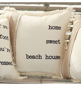 Mud Pie Canvas Pillow 14x14 w Saying 4264307H Home Sweet Beach House