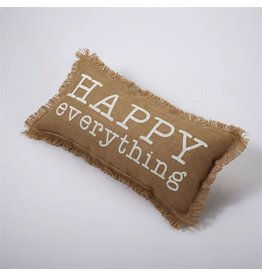 Mud Pie Burlap Pillow 9X18 w Saying 4265179 Happy Everything