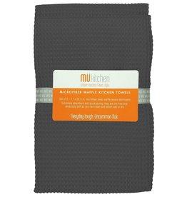 MUkitchen Microfiber Waffle Kitchen Towels 2pk 17x25.5 Cadet Grey