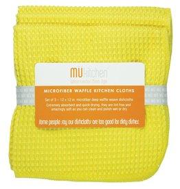 MUkitchen Microfiber Waffle Cloths 3pk 12x12 6638-1003 Lemon
