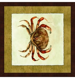 Wendover Art Group Crab I on Burlap w Walnut Burl Frame 28x28
