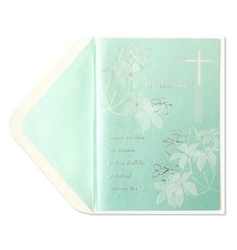 Papyrus Greetings Sympathy Card In Memory Cross w Bible Verse by Papyrus