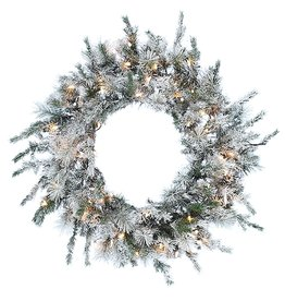 Kurt Adler Wreath Pre-Lit Flocked Glittered Wreath with Clear Lights