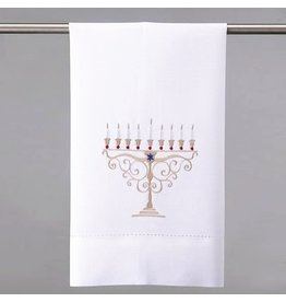 Peking Handicraft Judaic Hanukkah Menorah Hand Towel - Guest Towel