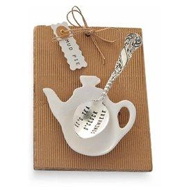 Mud Pie Tea Bag Holder n Spoon Set w Some LIke It Hot 4051003S Mud Pie