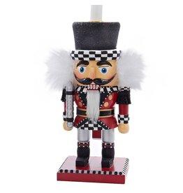Kurt Adler Red White Black Checkered Nutcracker Candle Holder HA0206-B