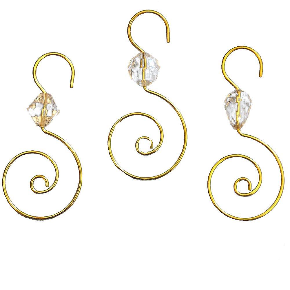 kurt adler christmas ornament hooks gold wire w clear acrylic jewel 24pc kurt adler - Christmas Ornament Hooks