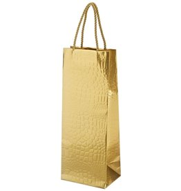Caspari Wine Bottle Bag Crocodile Gold  Gift Bag