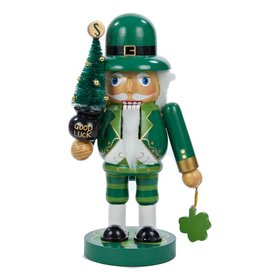 Kurt Adler Wooden Irish Nutcracker w Good Luck Christmas Tree J1469 Kurt Adler