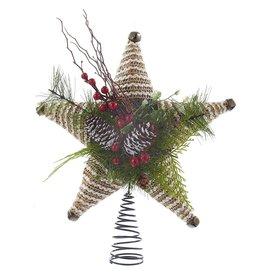 Kurt Adler Christmas Tree Topper Coastal Rope Star w Pinecones H9525 Kurt Adler