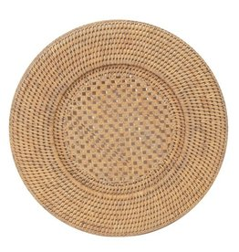 Caspari Rattan Chargers HDP01W Round White Charger
