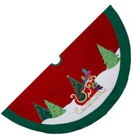 Kurt Adler Christmas Tree Skirt 48 Inch Velvet w Red Gold Sleigh H5255 Kurt Adler