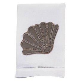 Mud Pie Hand Towel 107340A Shell Frayed Linen Towel