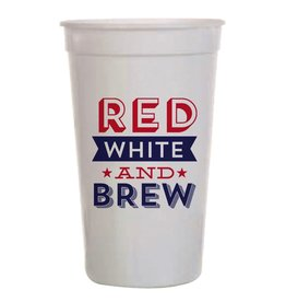 Slant 4th of July Plastic Stadium Cup 20oz 8pk Red White and Brew