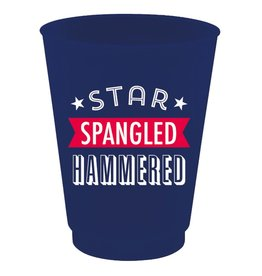 Slant 4th of July Plastic Flex Cup 16oz 8pk Star Spangle Hammered