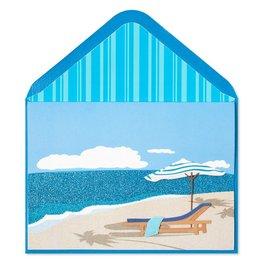 Papyrus Greetings Retirement Card Ocean Umbrella w Lounge Chair
