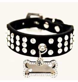 Jacqueline Kent Jewelry Rhinestone Dog Collar Black Small 15in by Jacqueline Kent Jewelry