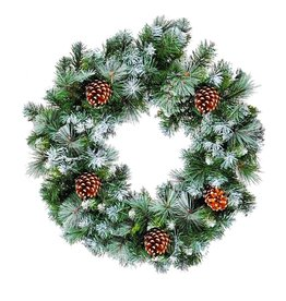 Darice Christmas Wreath Glacier Wreath w Pine Cones 24 Inch