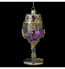 Kurt Adler Wine Glass w Glitter Glass Christmas Ornament NB0791-A Nobel Gems