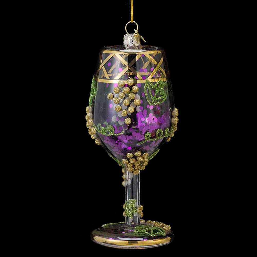 Kurt Adler Wine Glass w Glitter Glass Christmas Ornament NB0791-A Nobel Gems