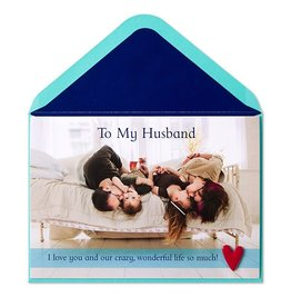 Papyrus Greetings Fathers Day Card For Husband Family on Bed by Papyrus