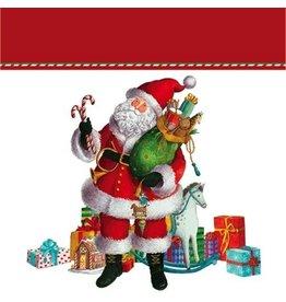 Caspari Christmas Gift Bag Small 5.75 Sq inch Coming to Town Santa