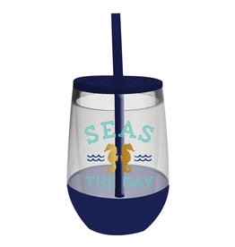 Slant Seas the Day Acrylic Stemless Wine Glass w lid straw F146715 Collections