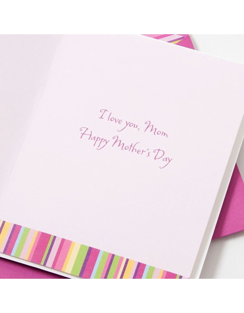 Papyrus Greetings Mothers Day Card Fabric Vase & Pink Fabric Flowers