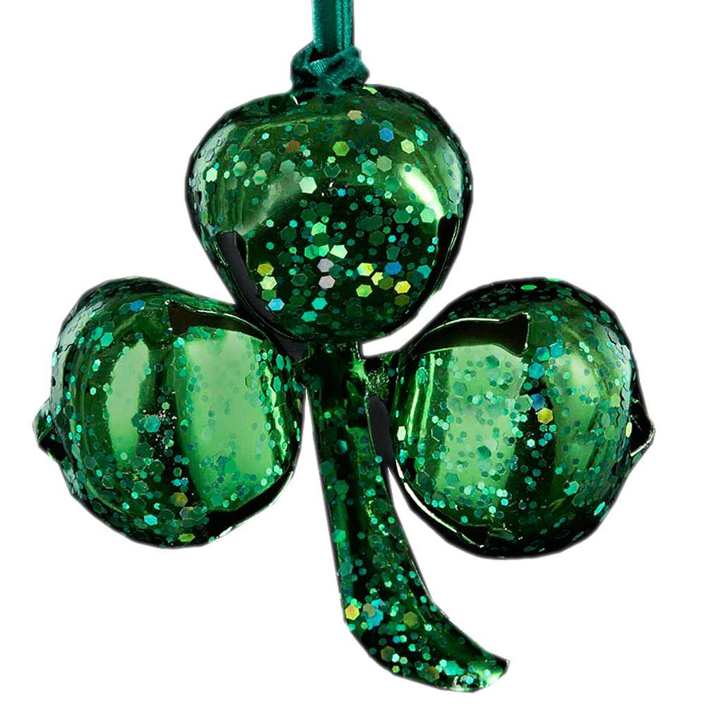 kurt adler irish christmas ornament green glittered shamrock bell ornament
