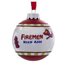 Kurt Adler Christmas Glass Ball Ornament Firemen Kick Ash C7551FIR Kurt Adler