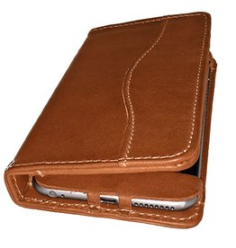 White Wing Label Leather iPhone 6 Wallet iPhone Case in Chestnut
