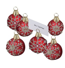 Kurt Adler Christmas Place Card Holder 6pc Red w Snowflakes C4614 Kurt Adler