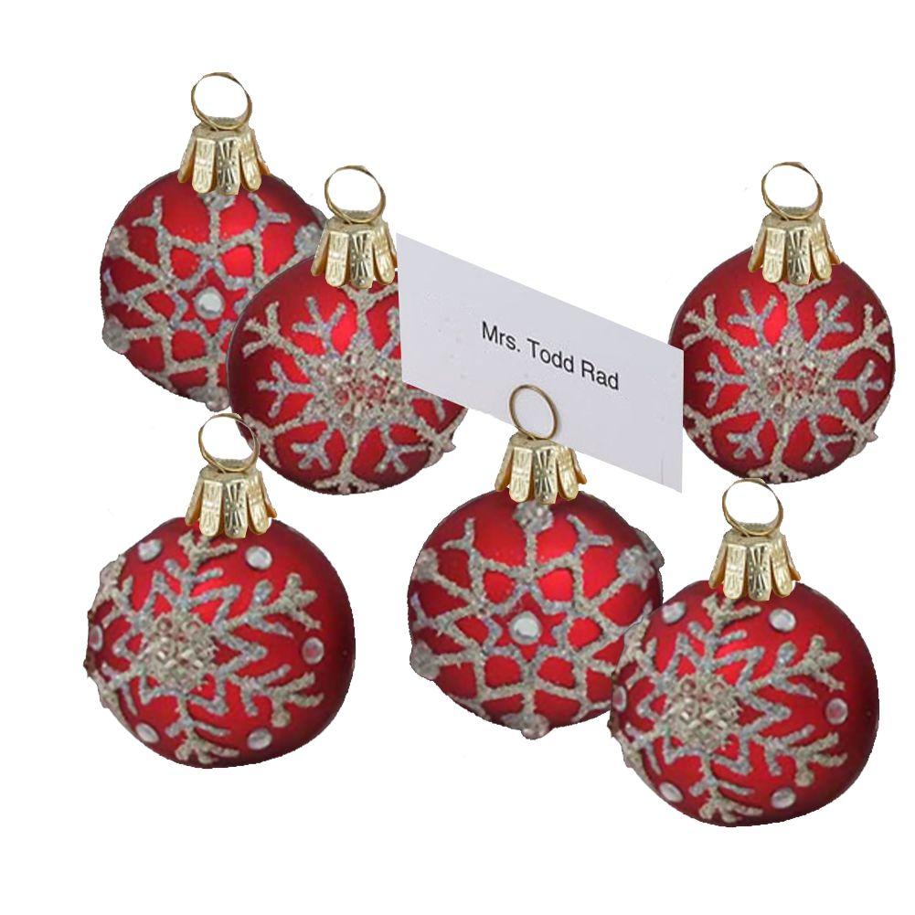 kurt adler christmas place card holder 6pc red w snowflakes c4614 - Kurt Adler Christmas