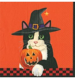 Caspari Halloween Cocktail Napkins 20pk Caspari 12860C Licorice Black Cat